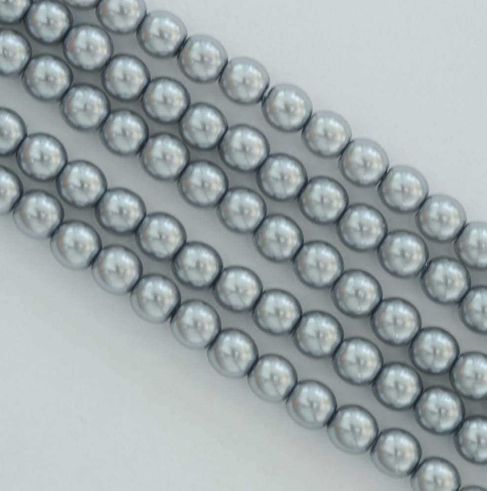 Glass Pearl Round Silver 2 3 4 mm Grey 24951 Czech Beads