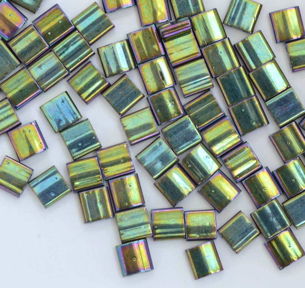 Metallic Green Iris 468 10 g Miyuki Tila Beads 5 x 5mm