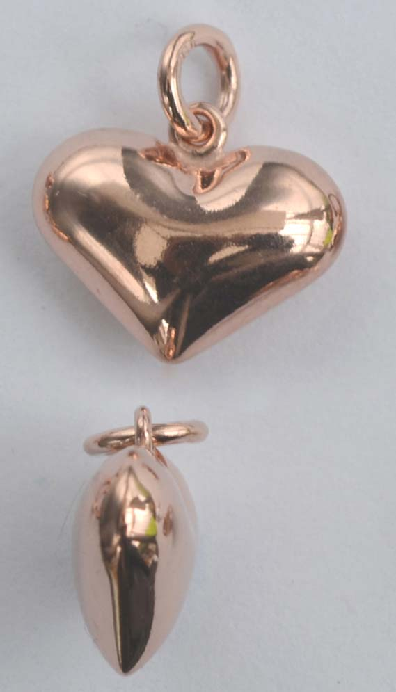 Vermeil-Sterling-Silver-Rose-Gold-Plated-Charm-Pendant-Earring-Puffed-Heart-x-1