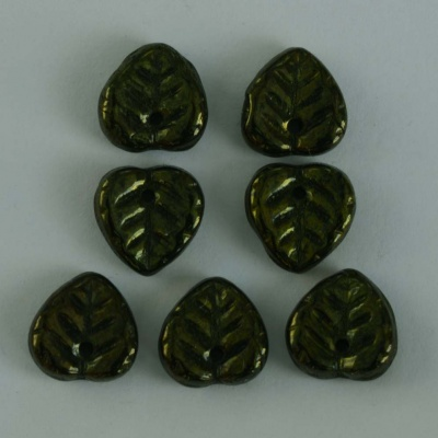 Leaf H Heart Green Jet Metallic Green 23980-14495 Czech Bead Charm x 50