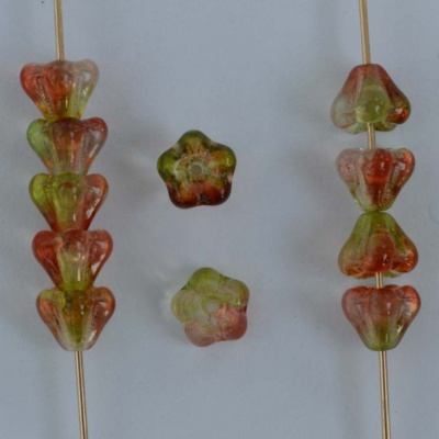 Flower Bell Orange 6mm 8mm Peach n Pear 48017 Czech Glass Bead