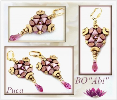 Pattern Puca Earring Abi  uses Paros Super Kheops Arcos Minos Foc with bead purchase