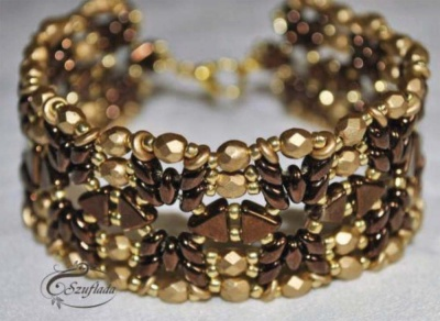 Pattern Puca Bracelet Golden Chocolate uses Kheops Foc with bead purchase