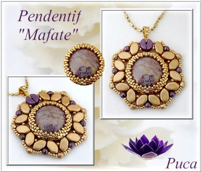 Pattern Puca Pendant Mafate uses Paros Kos Cabochon Foc with bead purchase