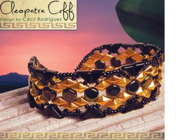 Pattern BeadMaster Cleopatra Cuff Bracelet uses DiamonDuo Tango Honeycomb FOC with bead purchas