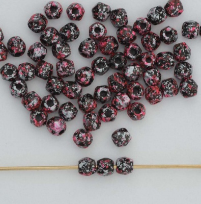 Fire Polished Pink 3 4 mm Jet Tweedy Pink 23980-45705 Czech Bead