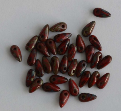 Mini Dagger Red Ruby Opaque Picasso  90080-43400 Beads 2.5 x 6mm x 5g