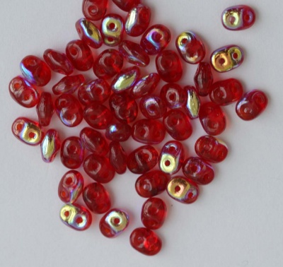 Superduo Red Ruby Transparent AB 90080-28701 Czech Beads x 10g