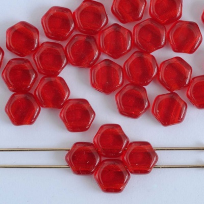 Honeycomb Red Transparent Ruby  90080 Czech Glass Beads x 30