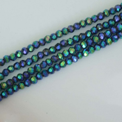 Crystal Faceted Round Blue  2 mm Metallic Sapphire n Emerald Chinese  Bead x 200