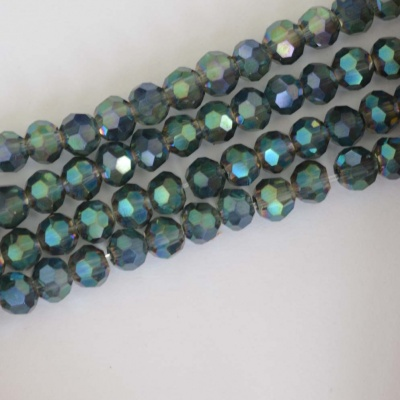 Crystal Faceted Round Green 3mm Tr Sapphire n Emerald Chinese  Bead x 100
