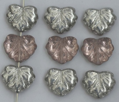 Leaf V Maple Silver Pink 03360 Czech Glass Beads x 5