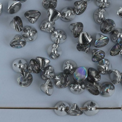 Button Beads Silver Crystal Silver Rainbow 00030-98530 Czech Glass x 25
