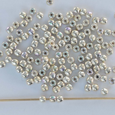 Druk Round Silver 2 mm Fine Silver Plated AB 00030-31000ab Czech Glass Beads