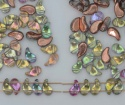 Zoliduo Left Right Green Crys Backlit Copper Lichen 00030-51002 Czech Glass Bead