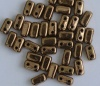 Brick Brown Jet Lt Bronze 23980-90215 Czech Mates Beads x 50