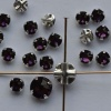 Rose Montees Purple 3 4 6 mm Amethyst 082204 Swarovski Beads Silver Pltd Setting