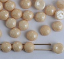 Cabochon 6mm 2 Hole Cream Chalk Champagne 03000-14413 Czech Glass Beads x 20