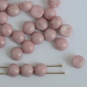 Cabochon 6mm 2 Hole Pink Chalk Lila 03000-14494 Czech Glass Beads x 20