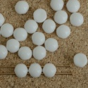 Cabochon 6mm 2 Hole White Chalk 03000 Czech Glass Beads x 20