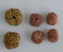 Fabric Chinese Knot Beads Buttons 2 Sizes Gold Brown