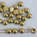 Cabochon 6mm 2 Hole Gold Crystal Amber Full 00030-26440 Czech Glass Beads x 20