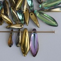Dagger 1 Hole Gold 10x3 16x5 mm Crystal Golden Rainbow 00030-98536 Bead