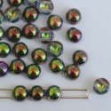Cabochon 6mm 2 Hole Green Crystal Magic Orchid 00030-95000 Czech Glass Bead x 20
