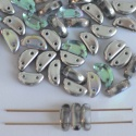 Half Moon Silver Crystal Silver Rainbow 00030-98530 Czech Glass Bead x 25