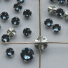 Rose Montees Blue 4 6 mm Denim Blue 082266 Swarovski Beads Silver Pltd Setting