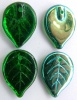 Leaf H 18 mm Green Tr Green AB 50140-28701 Czech Glass Bead Charm x 10