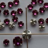 Rose Montees Pink 4 6 mm Fuchsia 082502 Swarovski Beads Silver Pltd Setting