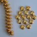 Lentil 1 Hole 6mm Gold 24ct Gold Plated 00030-35000 Czech Glass Bead x 25