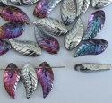 Chinese Leaf H Silver Hawaiian Silver Sunset 19x8mm  Glass Bead x 10