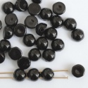 Cabochon 6mm 2 Hole Black Jet 23980 Czech Glass Beads x 20