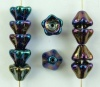 Flower Bell Blue 8mm Jet Blue Iris 23980-21435 Czech Glass Bead  x 25