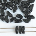 Half Moon Black Jet 23980 Czech Glass Bead x 25
