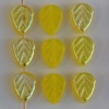 Leaf V 10 mm Yellow Opal Lemon AB 80010-28701 Czech Glass Beads x 25