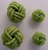 Fabric Chinese Knot Beads Buttons 2 Sizes Lime Green