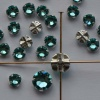 Rose Montees Blue 4 6 mm  Lt Turquoise 082263 Swarovski Bead Silver Pltd Setting