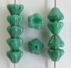 Flower Bell Green 6mm Turquoise Shimmer 63130-14400 Czech Glass Bead x 50
