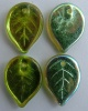 Leaf H 18 mm Green Olivine AB 50230-27801 Czech Glass Bead Charm x 10