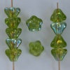 Flower Bell Green 8mm Olivine AB 50230-28701 Czech Glass Bead x 25
