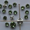 Rose Montees Green 4 6 mm Peridot 082214 Swarovski Beads Silver Pltd Setting