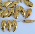 Chinese Leaf H Gold Rich  Gold 19x8mm  Glass Bead x 10