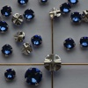 Rose Montees Blue 3 4 6 mm Sapphire 082206 Swarovski Beads Silver Pltd Setting