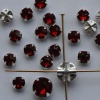 Rose Montees Red 4 6 mm Siam Ruby 082208 Swarovski Beads Silver Pltd Setting