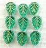 Leaf V 10 mm Green Tr Teal Gold Inlay 60210Gl Czech Glass Beads x 25
