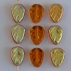 Leaf V 10 mm Brown Transparent Dark Topaz AB 100920-28701 Czech Glass Bead x25