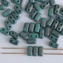 Brick Green Turquoise Persian Moon Dust 63150 CzechMates Beads x 50